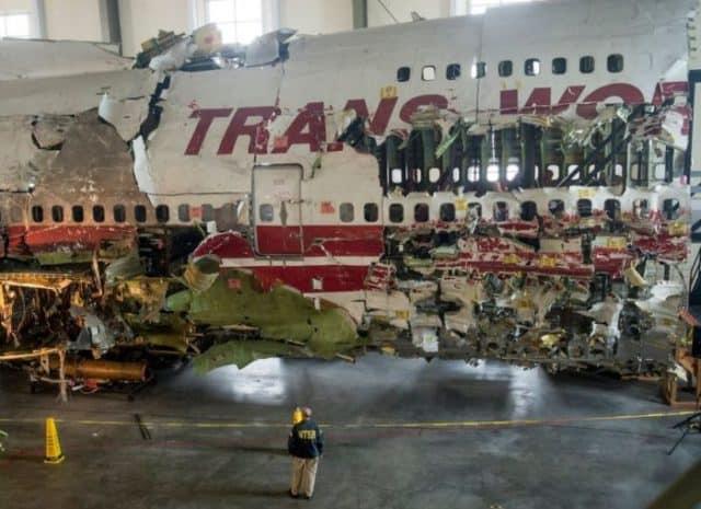 Reconstructed wreckage of TWA Flight 800