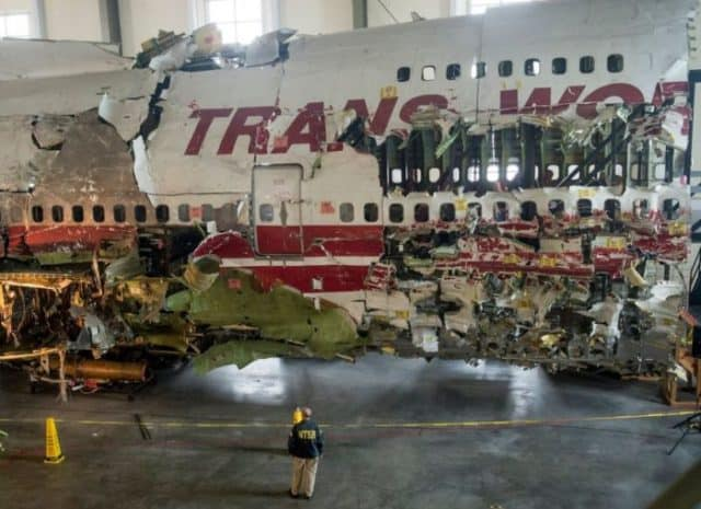 Reconstructed wreckage of TWA Flight 800